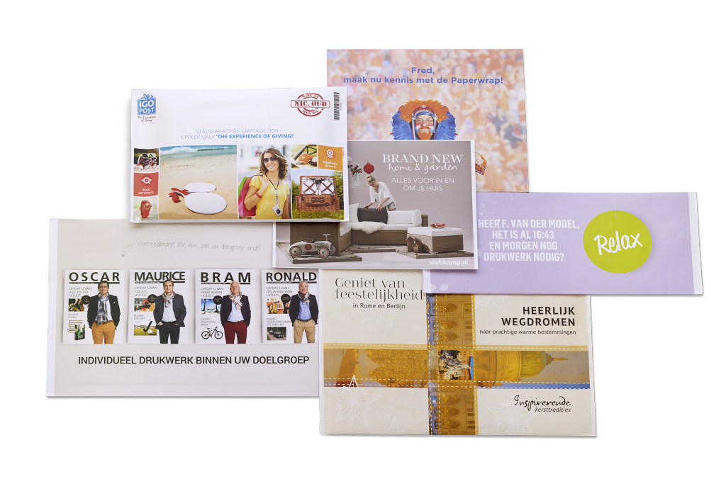 Direct mail verpakking; de paperwrap collage
